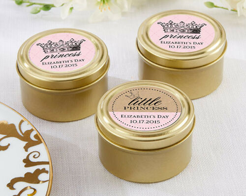 Personalized Gold Princess Candy Tin Sweet 16 Birthday Quince Baby Shower Favor
