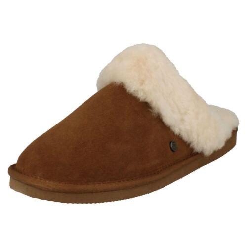 di pecora Pantofole marrone Camel da Pantofole mulo in Cosy Casual donna pelle F0gwFq8