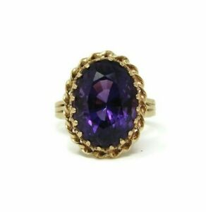 Large-14K-Gold-Amethyst-Ring-Size-10-5-8-Grams-Estate-Jewelry