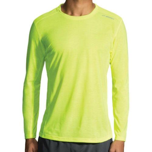 Brooks Herren Distance Nightlife Langarm T Shirt Sportshirt Top Laufshirt Gelb