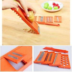 HOT-6pcs-Gemuese-Obst-Hobel-Reibe-Slicer-Kartoffelschaeler-Kuechen-Werkzeug-KAKI