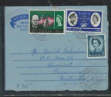 ST LUCIA (P2706B) 1966 FORMULA AEROGRAMME 6C CHURCHILL+VISIT 4X+QEII 5C TO AUSTR