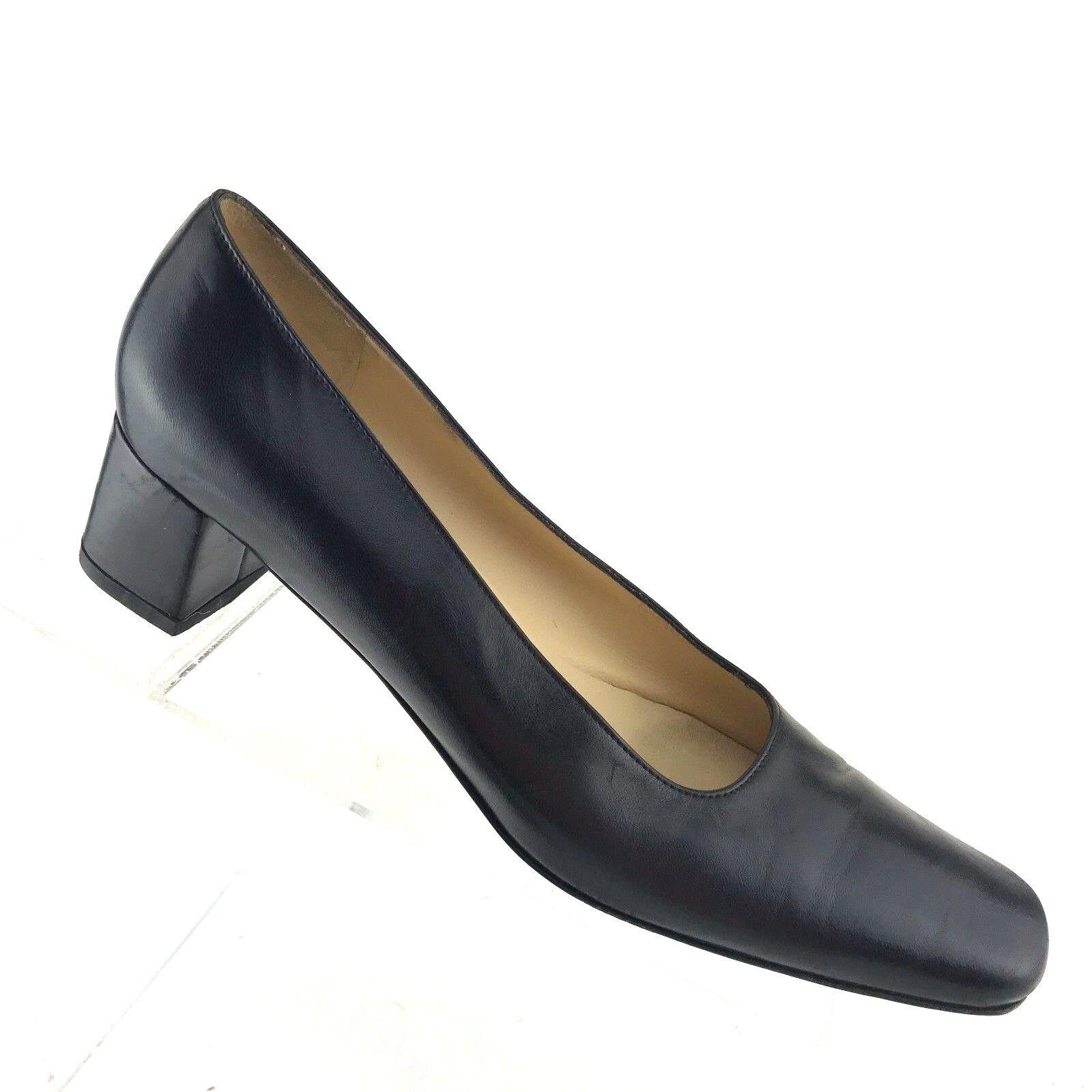 Salvatore Ferragamo Boutique Black Leather Block Heels Womens Shoe SIZE 7 AAA