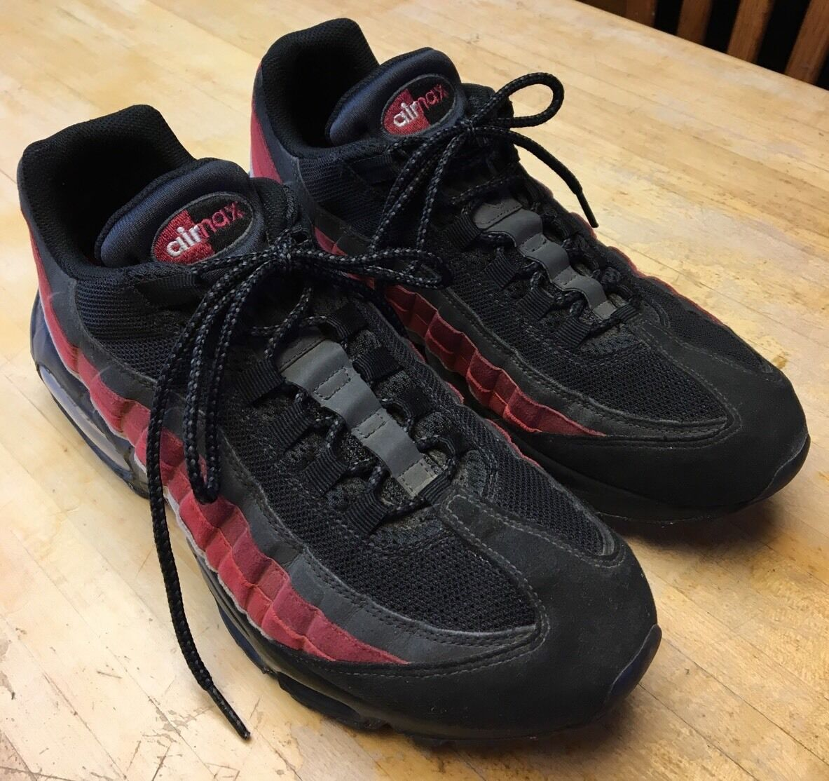 Mens Nike Air Max 95 Black/Black-Neutral Grey-Varsity Red 609048-035 Comfortable
