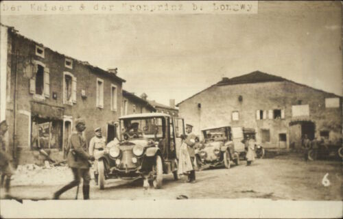 Longwy France WWI Kaiser & Kronprinz Car & Bldgs Real Photo Postcard