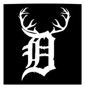 detroit tiger english d deer hunter buck antlers car window sticker