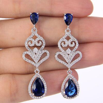 Bridal Bridesmaid Teardrop Heart Dangle Earrings Blue Cubic Zirconia Women