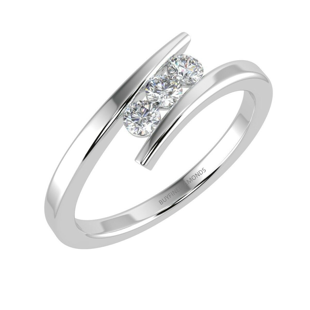 0.25 Carat 3 Round Diamond Tension Set Ring, White gold UK Hallmarked