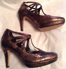 New🌹Clarks Plus🌹UK 9 Betsy Lockwood Bronze Snake Pat Leather Heel Shoes 43EU