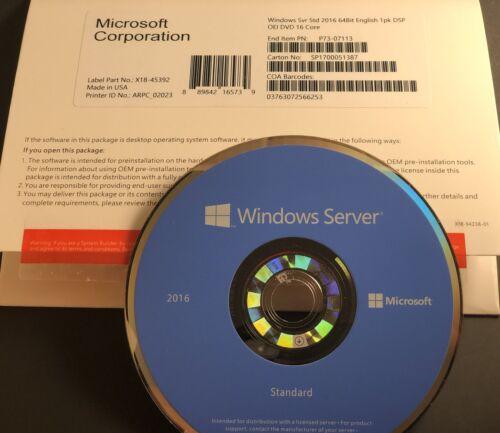 16 core-2VM Brand N OEM Pack Microsoft Windows Server Standard  2016 2CPU