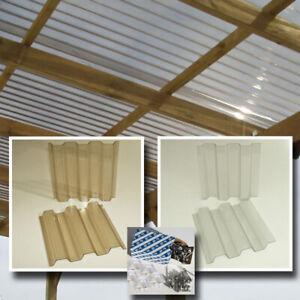 Dachplatten 4x2 m Lichtplatten Set farblos oder bronze hagelfest bis 4 cm Korn-Ø