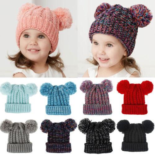 Baby Kid Boy Girl Beanie Hat Winter Warm Double Pom Pom Bobble Knit Crochet Cap