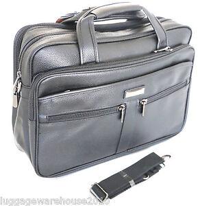 Mens-Black-Laptop-Bag-Messenger-Briefcase-Business-Work-Bag-Leather-Feel