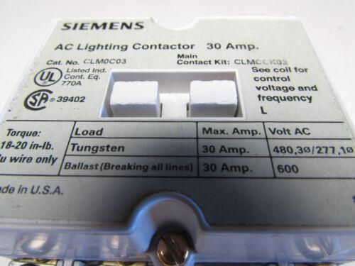 SIEMENS CLM0C03  AC LIGHTING CONTACTOR 30amps w// CLMKCMR RECTIFIER MAKE OFFER!