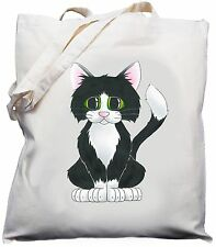 Cute Kitty Cat Design Natural (Cream) Cotton Shoulder Bag / Shopper /Tote