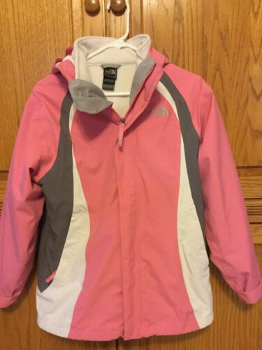The North Face Pinkgraywhite Nylon Girls Hyvent Sz XL Winter 2 IN 1 Jacket