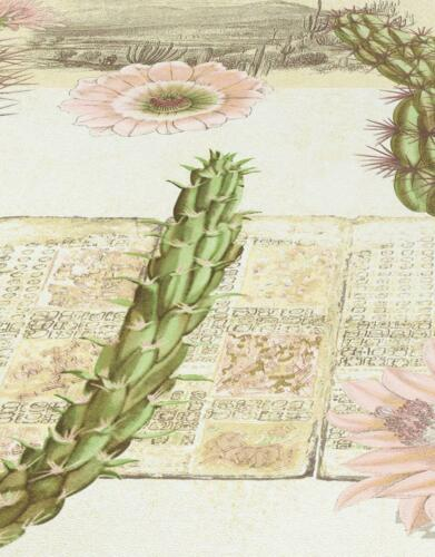 Mexico Floral Cactus Wallpaper Flowers Cream Green Pink Ethno Vinyl Paste Wall