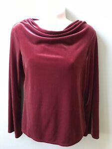 J-Jill-Rose-Red-Stretch-Velvet-Draped-Cowl-Neck-Long-Sleeve-Size-XS-Fancy-Top