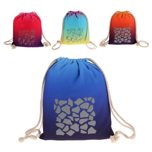 Safety Reflective Drawstring Backpack Bag for Gym Sport Night Cycling Travel