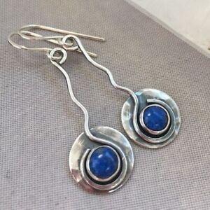 Women-925-Silver-Blue-Sapphire-Dangle-Drop-Earrings-Ear-Hook-Wedding-Party