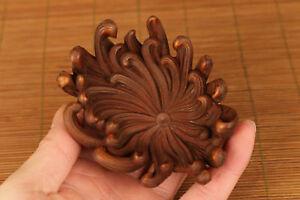 Rare chinese old Boxwood Hand Carved chrysanthemum Statue Netsuke