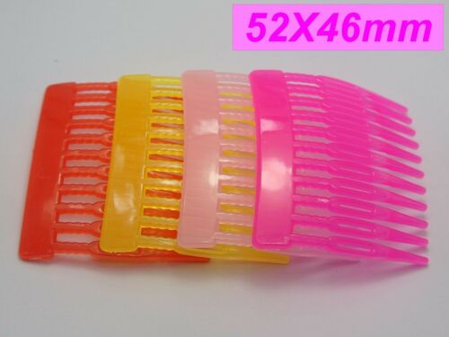 20 Mixed Color Plastic Smooth Hair Clips Side Combs Pin 52mm for Girls
