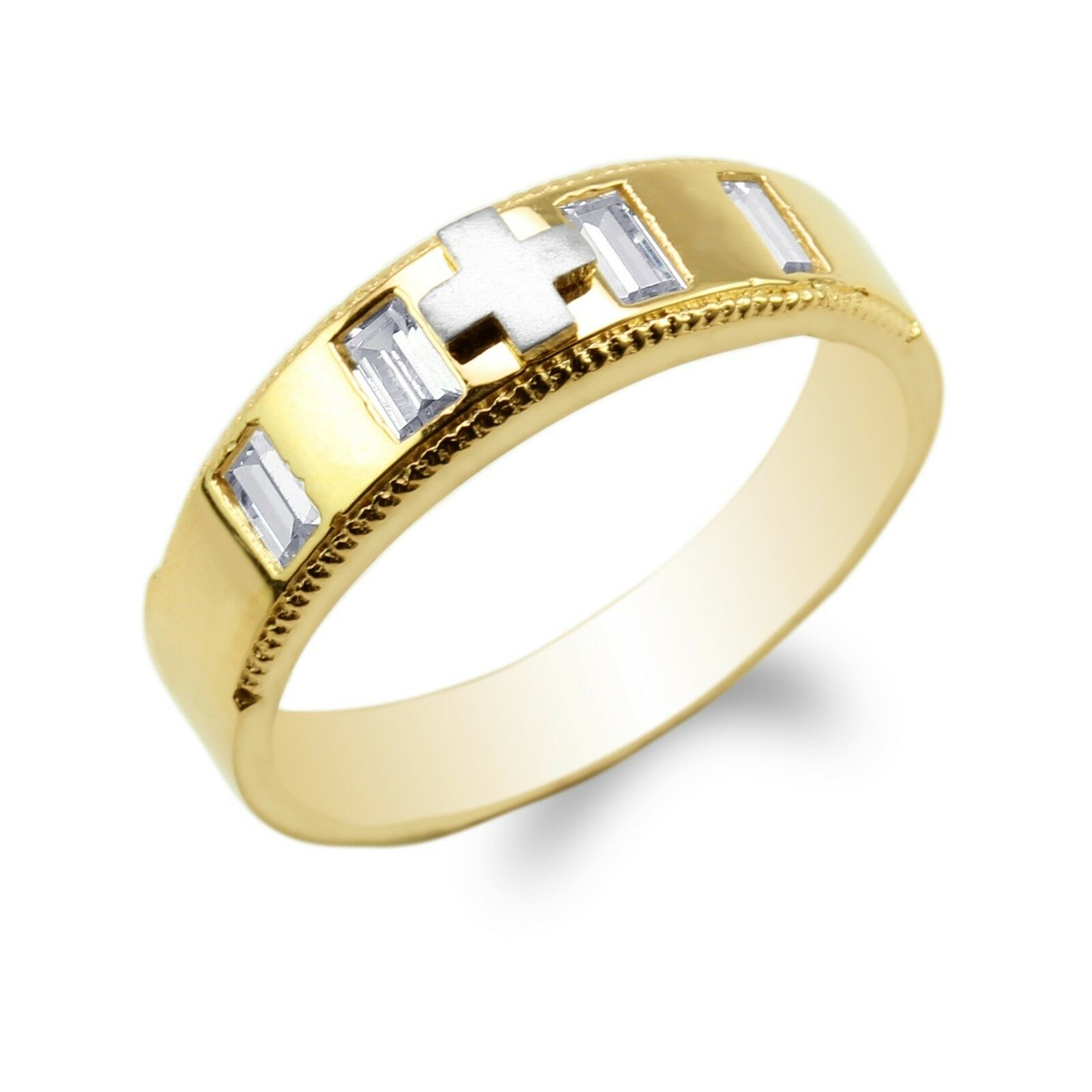 10K 14K Yellow gold Two Tone Baguette CZ Embedded Cross Wedding Ring Size 7-11