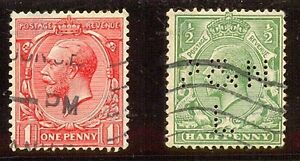 GRAN-BRETANA-YT-1913-N-157-Y-158-USADO