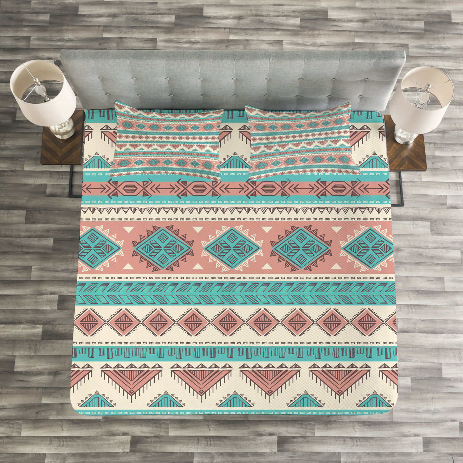 Tribal Quilted Bedspread & Pillow Shams Set, Aztec Art African Style Print