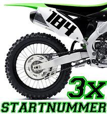 3x Startnummer Wunschnummer Motorrad  Motocross Aufkleber ATV MX Enduro Boot i