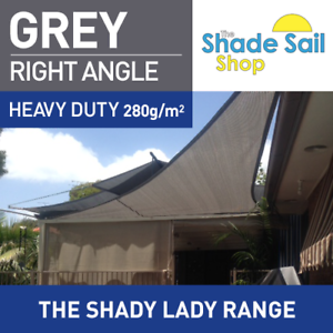 Shade Sail 5x5x7 07m Right Angle Triangle Grey 280gsm Super Strong 5