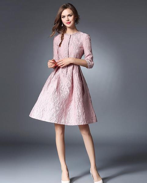 Vestito corto abito scampanato  elegante rosa cipria pizzo moda manica 4813