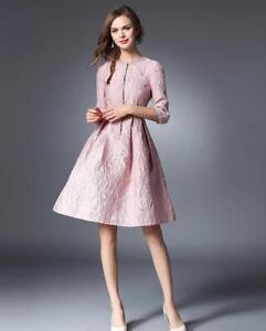 new product 6c97d 70270 Dettagli su vestito corto abito scampanato elegante rosa cipria pizzo moda  manica 4813