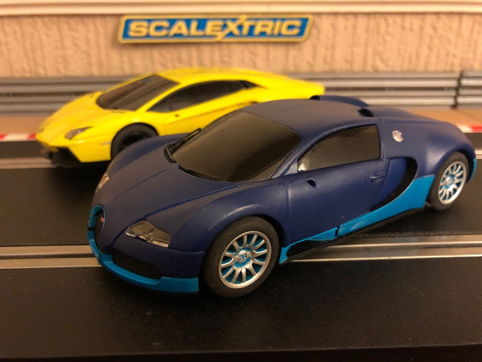 Scalextric Bugatti Veyron & Lamborghini Aventador Both Fully Serviced