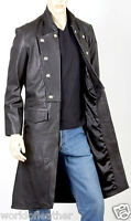 Mens Real Leather Goth Butler / Military Style Three Quarter Length Coat - Black