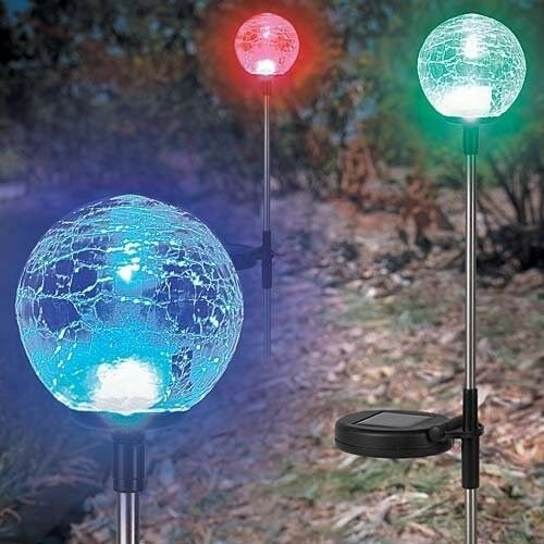 Solar Crackle Glass Ball Lights, a Pack of 3 pcs in a set.