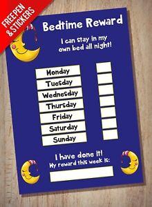 Bedtime-aiutante-Reward-Chart-per-bambini-Sticker-STAR-dormire-nel-letto-proprio