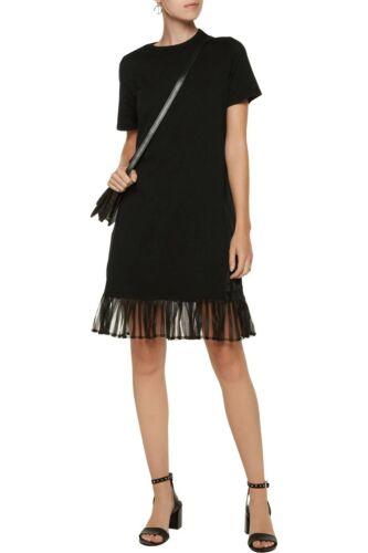 Clu cotton-jersey  mini shirt dress mesh black sma