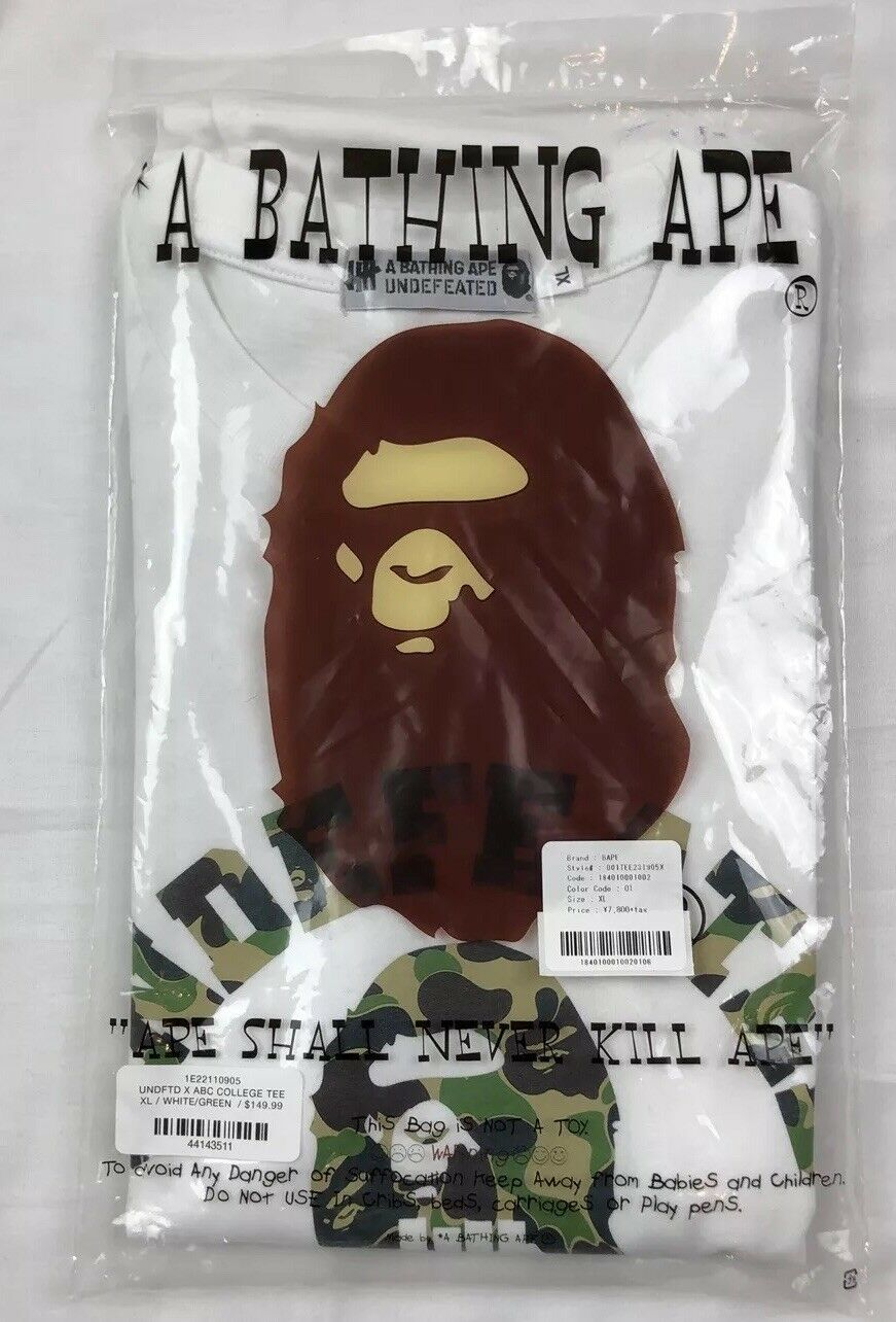 BAPE x UNDFTD ABC College Tee Brand New In Bag Größe XL Weiß Camo DSWT