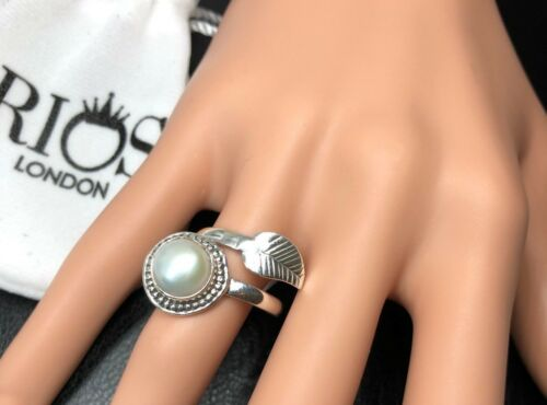 Pearl 925 Ring Sterling Silver Gemstone Leaf Adjustable Gift for Her Boxed