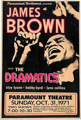 James Brown 1971 Concert A3 VINTAGE BAND POSTERS Music Rock Old Advert #ob