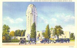 Shrine-amp-Church-Of-The-Little-Flower-Detroit-Michigan-Postcard-Unused-VTG-Teich
