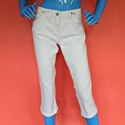 Women River Island White Skinny Crop Cropped Jeans Capri Pants 14 Euro 40 Large