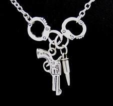 New Handcuffs Pistol Gun Bullet Charm Pendant Silver Chain Necklace