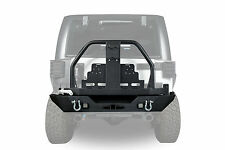 Black Rear Bumper w/Oil Drum Rack Bar & Tire Carrier for Jeep Wrangler JK 07-17