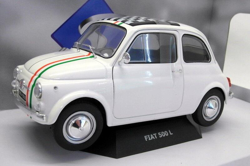 Solido 1/18 Scale Model Model Model Car S1801403 Fiat 500 L'Italia White   à Gagnez Un Haut Admiration  668d12