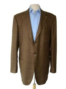 Kiton Sport Coat: 44XL/45XL Dark drab glen plaid, 3-button, pure ...