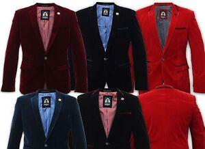 Para-Hombre-Marc-Darcy-disenadores-de-terciopelo-Blazers-Chaqueta-de-cena-formal-trajes-de-bodas