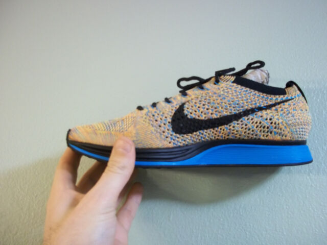 promo code 50cae 624f6 Womens Nike Flyknit Racer Shoes Bright Citrus Blue Lagoon 526628-800 Size 6