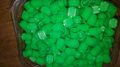 100 x Auto in Plastica Verde Chiaro Valvola Polvere Berretto steli di Azoto riempito pneumatici